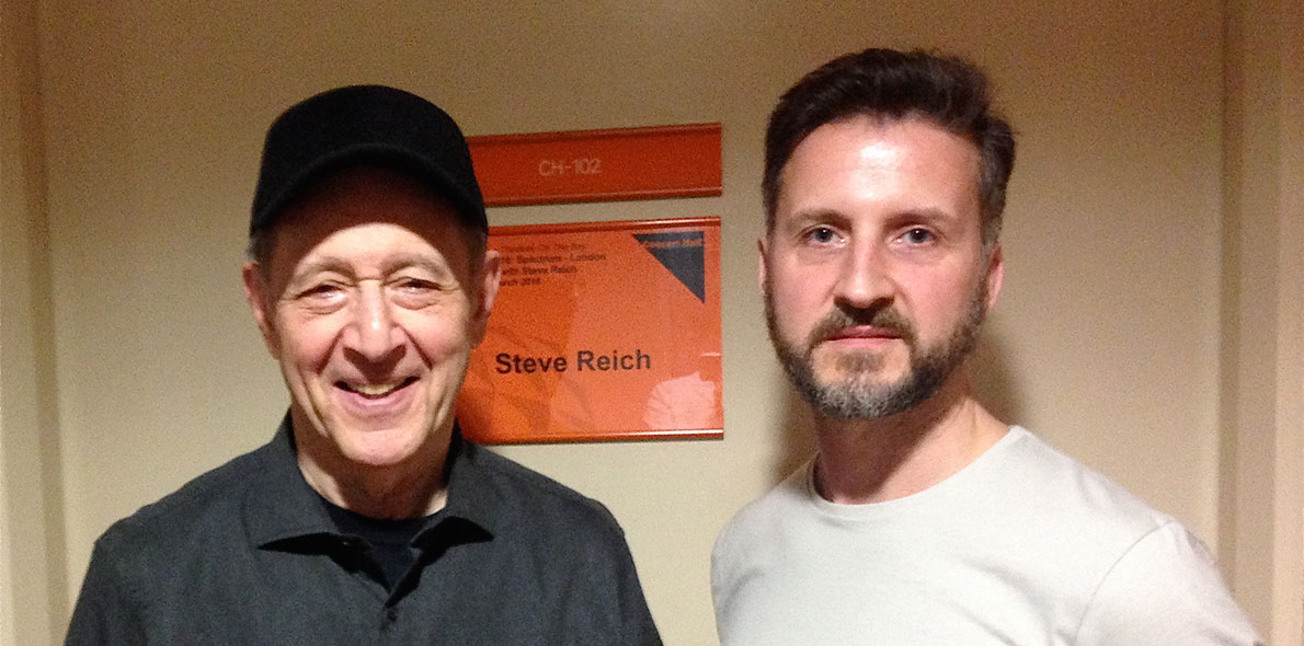 Steve Reich (left) with Solent's Professor Pete Wilson