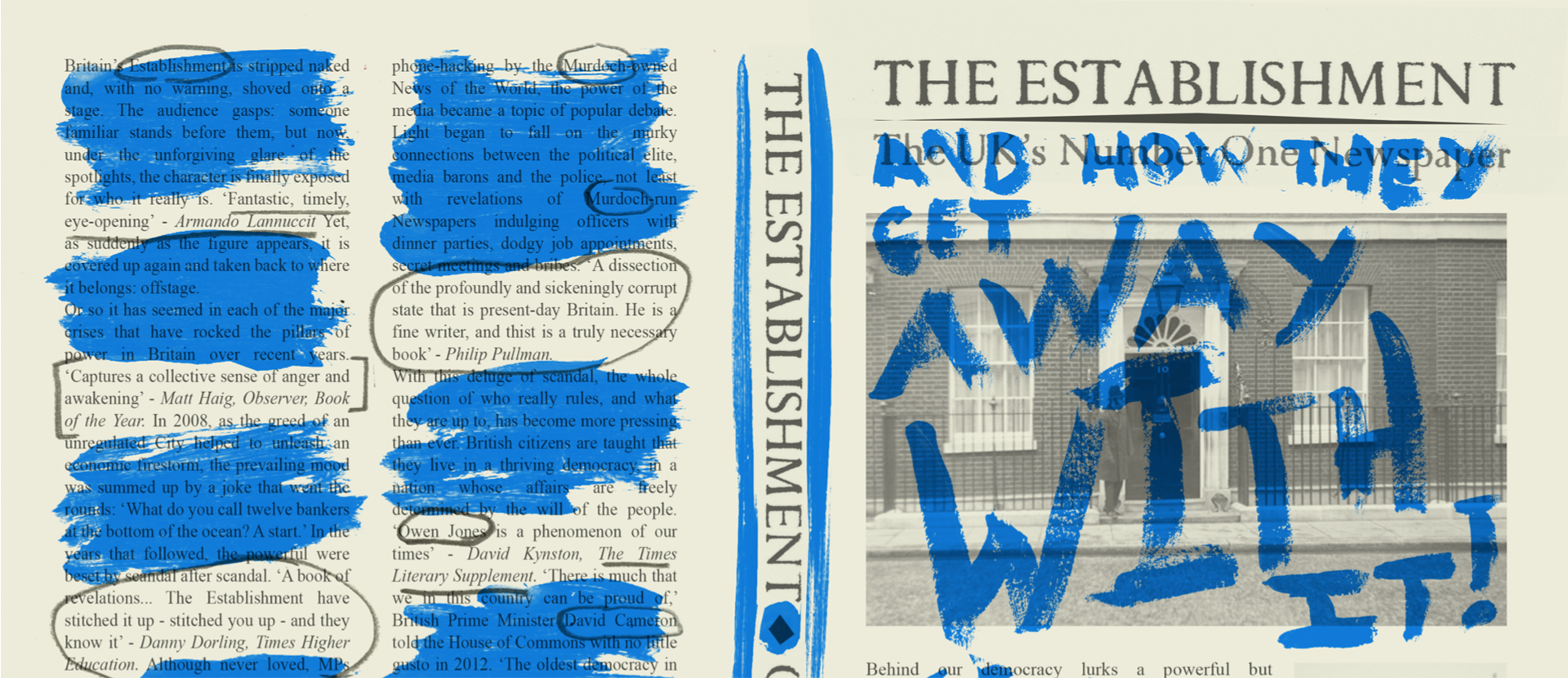 Shortlisted design of The Establishment front cover by illustration student Sam Ayres