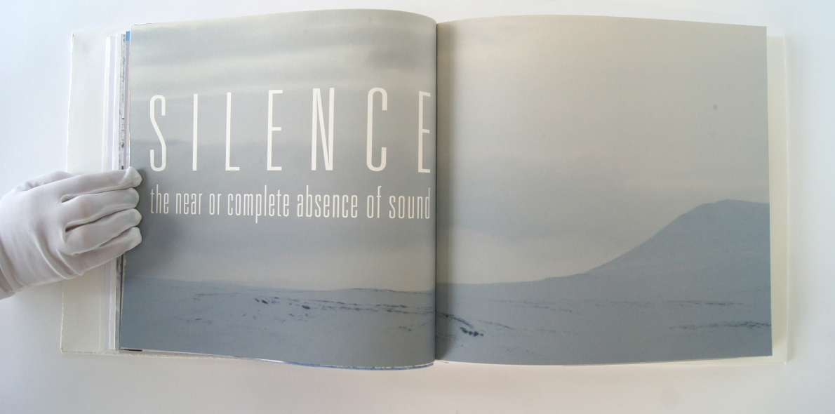 A double-page spread of 'Silence' from Josefine Liland's book, Whiteness