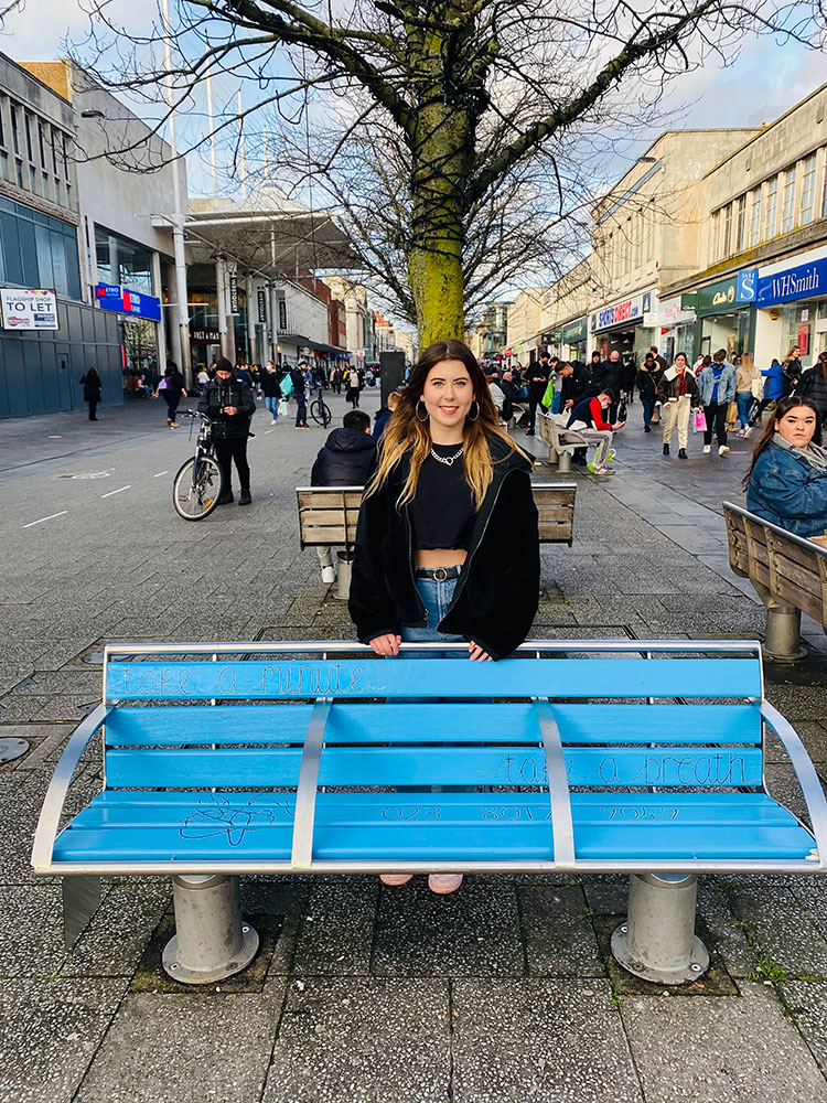 Picture of Jojo with her installed bench on Southampton high-street