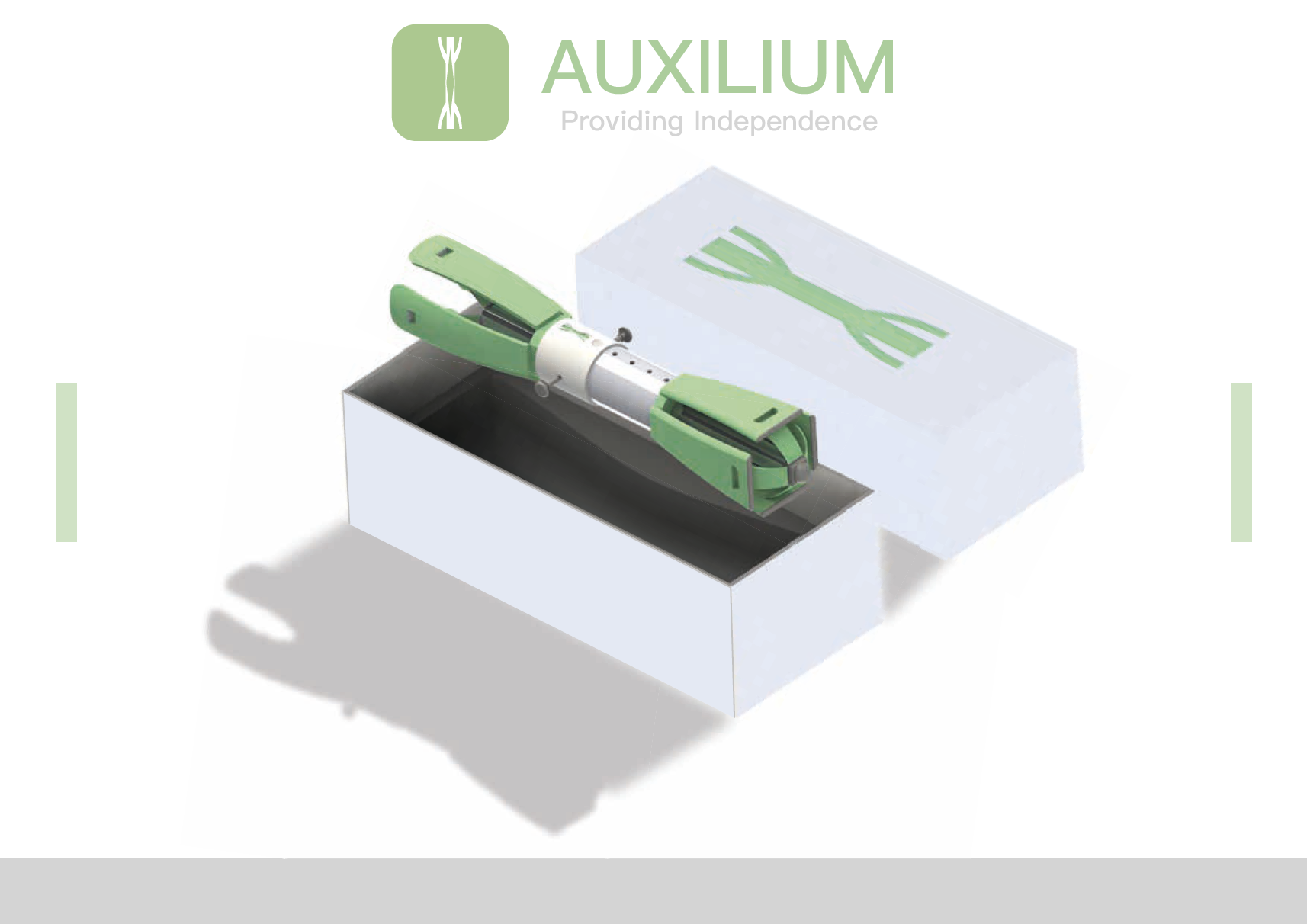 Picture of Lewis' Auxilium design showing prosthetic in packaging