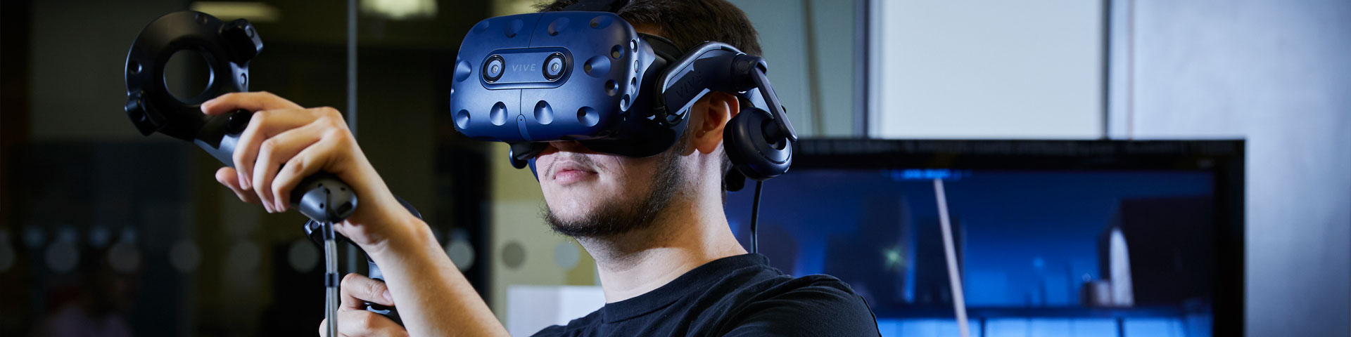 A person using a virtual reality headset