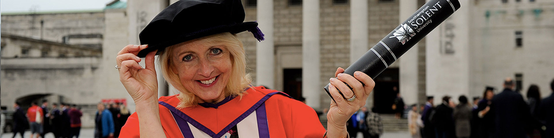Jan Ward CBE with her honorary doctorate from Solent University