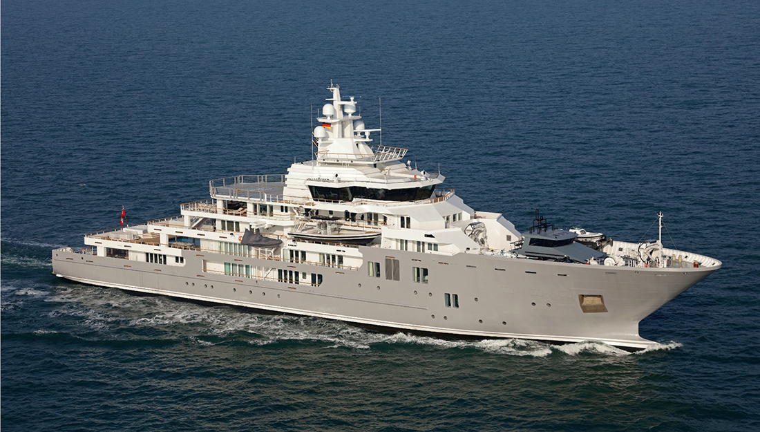 Superyacht in the sea