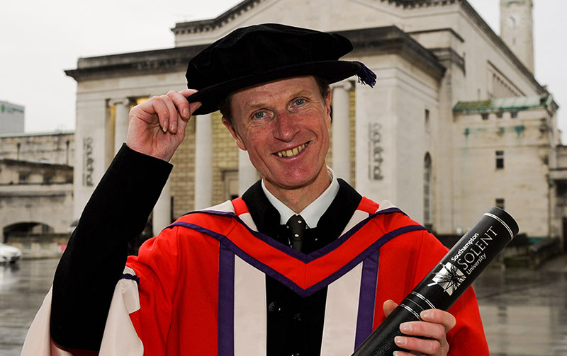 Philip Hoare with his honorary degree outside the Guildhall in Southampton