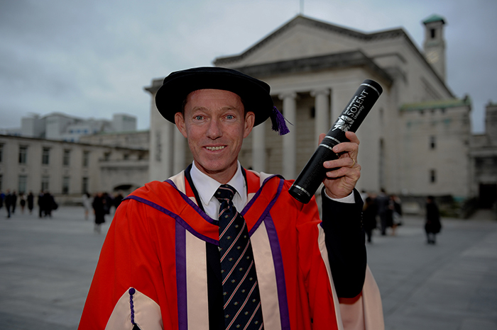Stephen Park OBE with his honorary degree from Solent University