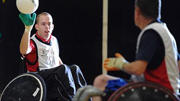 Team Solent Sharks wheelchair rugby team playing