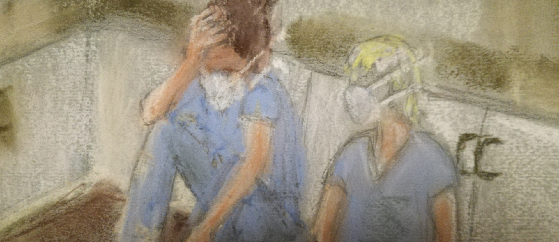 A sketch of two nurses sat on the floor
