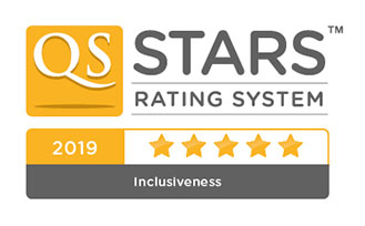 QS Stars University Ratings - 5 star badge for inclusiveness