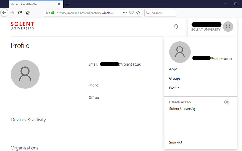 Screenshot of how to sign out of Office 365