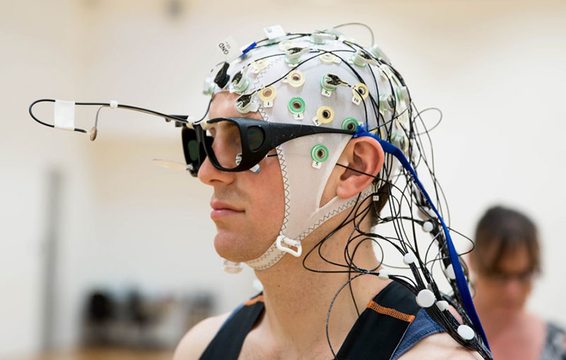 Person wired up for EEG testing