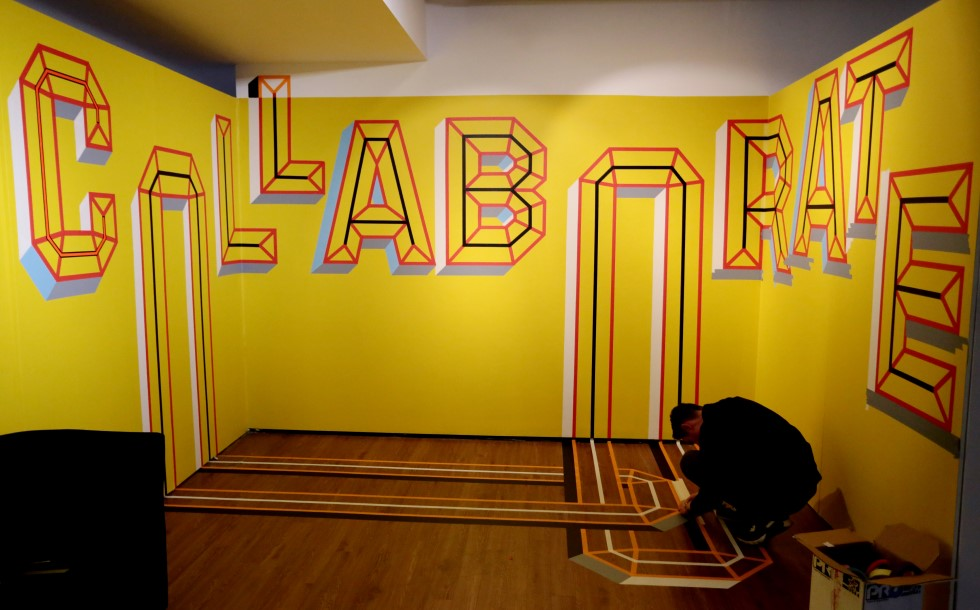 Picture of artist Nathan Bailey's work, showing the word 'Collaborate'