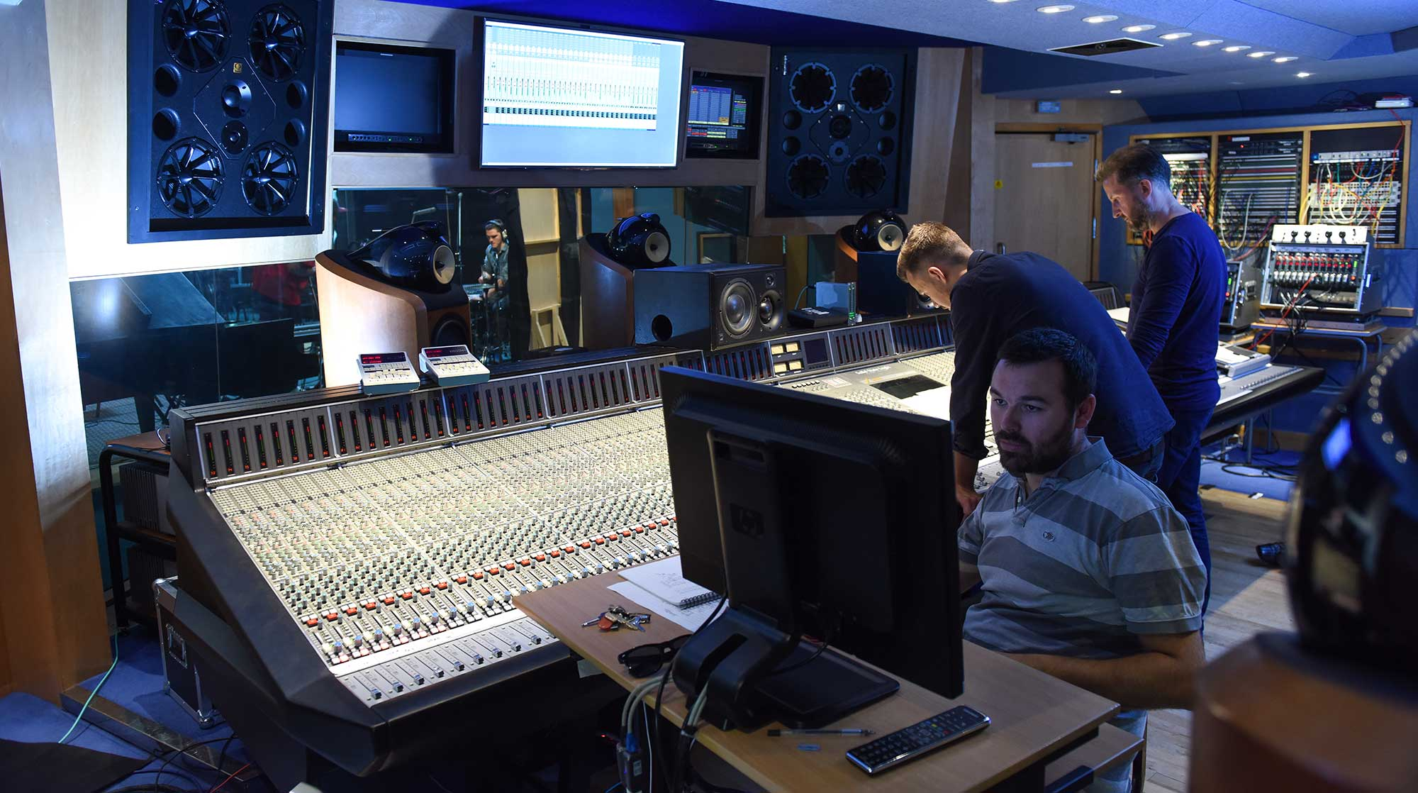Students recording in Abbey Road Studios