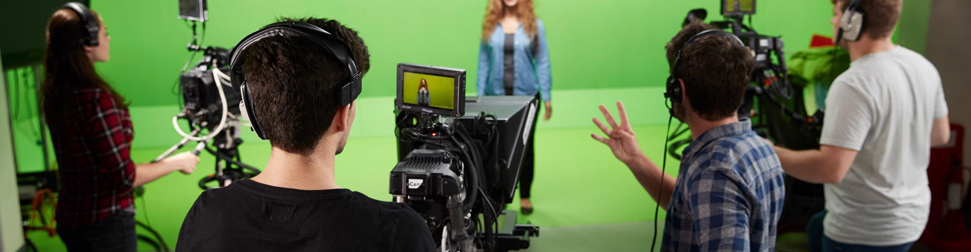 Solent film and TV students using the green screen facilities