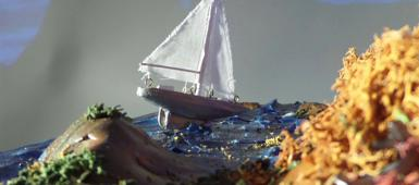 A small boat made by a fine art student