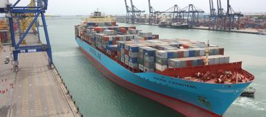 A Maersk container ship coming into port