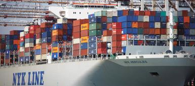 A large container ship in port
