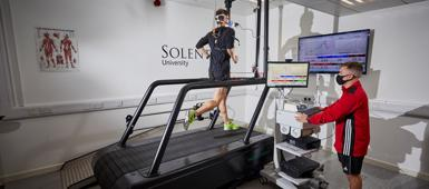 Sport Science and Performance Coaching student running on a treadmill